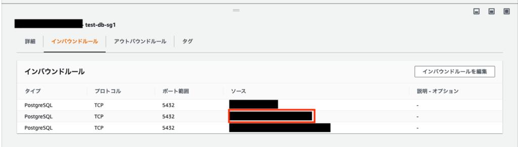 RDS PostgreSQLのセキュリティグループの設定