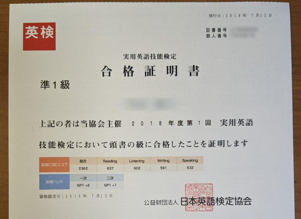 英検準1級合格証明書