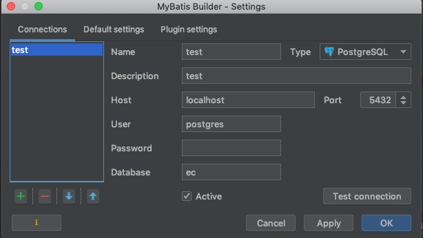 intelliJ mybatis plugin 設定 DB